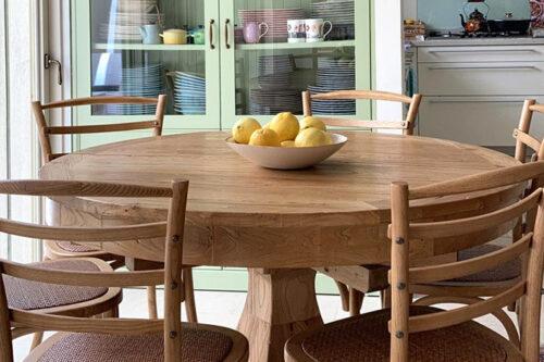 שולחן כפרי עגול נפתח