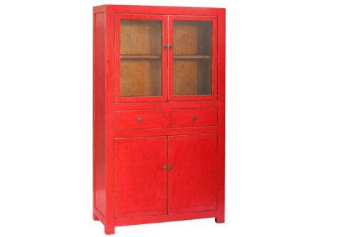 ארון ויטרינה אדום מעץ