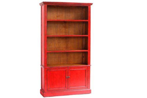 ארון ספרים אדום מעץ