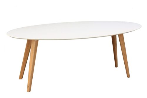 שולחן אליפסה שמנת ועץ טבעי
