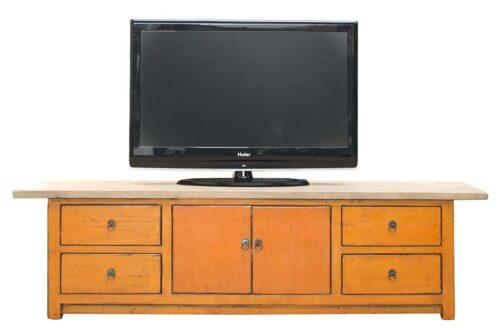 שידת טלוויזיה כתומה מעץ