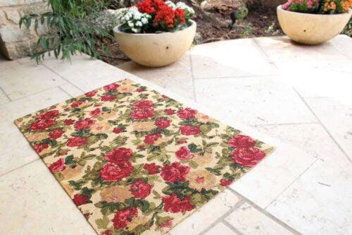 שטיח שושנים אדום חבל טבעי