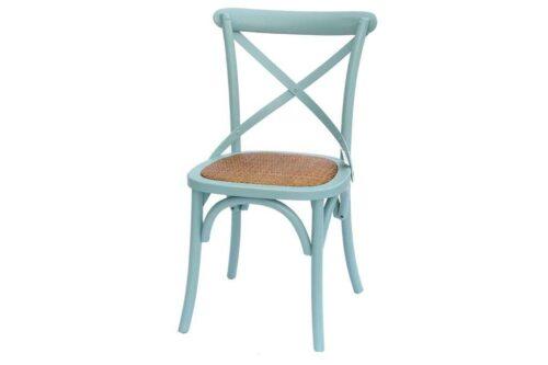 כסא אוכל תכלת מעץ מלא