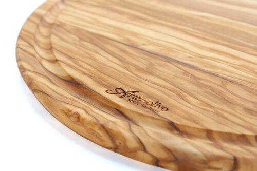 קרש חיתוך עגול מעץ זית טבעי