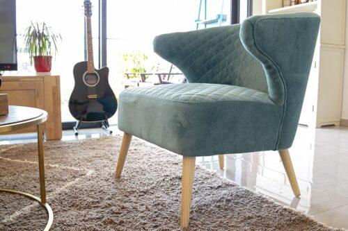כורסא טורקיז מעוצבת לסלון