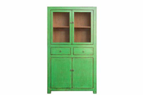 ארון ויטרינה ירוק מעץ