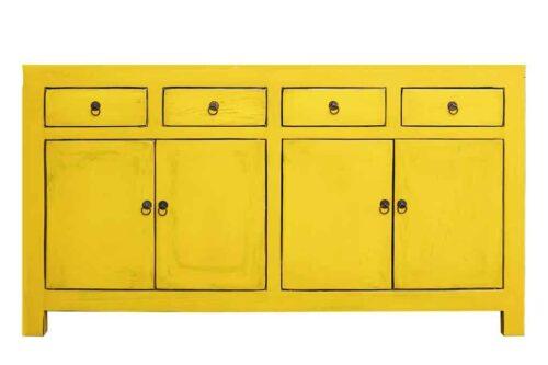 מזנון צהוב לאחסון מעץ מלא